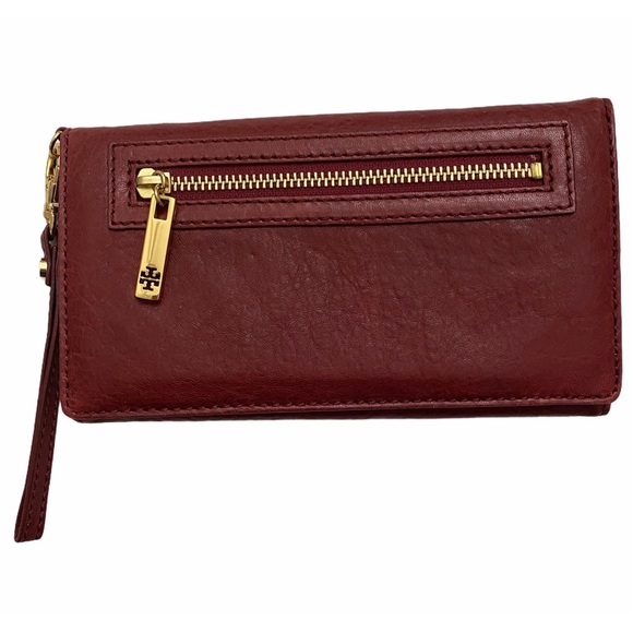 Tory Burch pebbled leather flap continental wallet